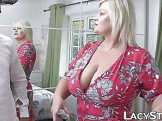 blowjob blonde British granny Lacey Starr riding foreign cock for cumshot
